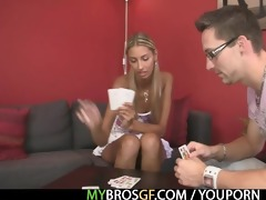 she is loses in strip poker and acquires drilled