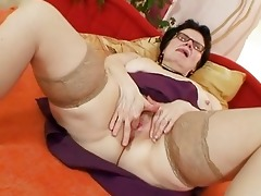 old grandma with glasses fingering bushy snatch