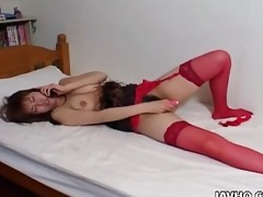 gracious japanese hotty in red nylons pleasures