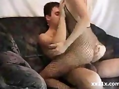 4moaning golden-haired in fishnet drilled on sofa