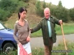 cute chick seduces older man on the road