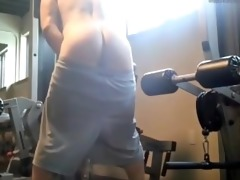 stroking off and cumming a massive load in the gym