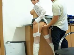 great young brunette hair fucking in the office