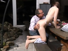 oldman fucks gorgeous beata in his backyard