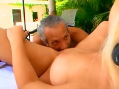golden-haired with large gazoo drilled poolside