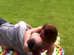 hawt gal getting screwed by a senior in the garden