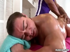 muscled dad undressed as muscular masseur strokes