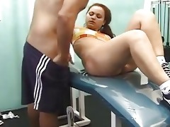 juvenile brunette hair workout sex with...