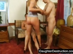 youthful legal age teenager daughter groupfucked