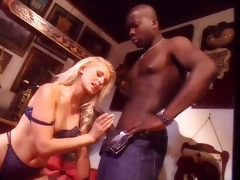 youthful blond woman with darksome chap