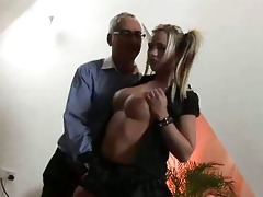 hawt blond jerking poor old brit to cumshot