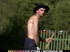 old dude licking and toying his sons gf snatch
