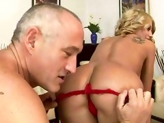 old lad fucking and licking youthful cutie