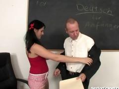 slutty schoolgirl sucks and bonks her teacher