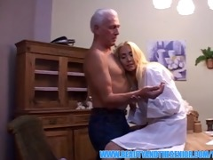 breathtaking blond nurse swallows senior injection