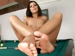 youthful cindy hope showing off her worthy feet