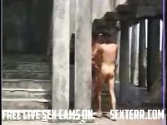 non-professional pair having outdoor sex