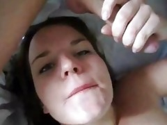 youthful angel engulfing cum and playing with it
