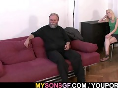 old daddy forces his sons gf engulf his rod