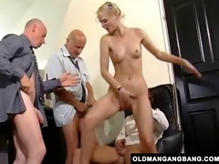blond takes grandpas anal team fuck