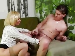 aged blonde pussy rub and sucks younger chap