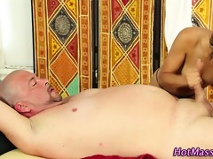 massage cook jerking with blowjob sex