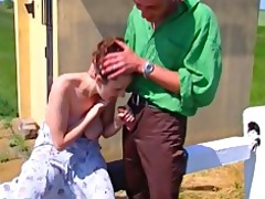 large titted beauty receives screwed outside