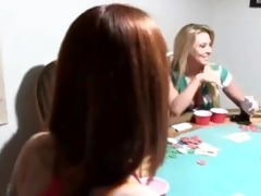 youthful gals makinglove on poker night