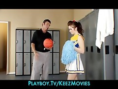sexually excited brunette hair cheerleader bonks