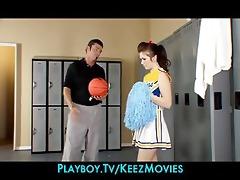 sexually excited brunette hair cheerleader bonks