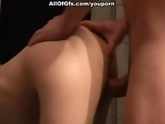 slim gf in nylons owned from behind