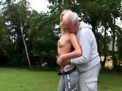 lascivious blond copulates old man