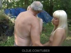 old woodcutter copulates slutty blondes