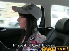 faketaxi miniature youthful model trys to fit a