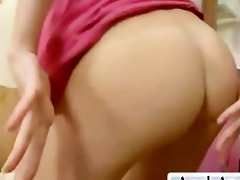 hottie warming up her wazoo with huge booty plug
