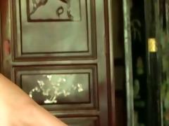 youthful brunette hair woman teasing in ottoman