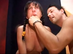 hawt brunette hair drilled and spanked
