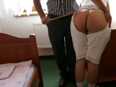 amelia in the old-fashioned underware got caning