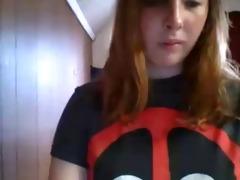 youthful gal flashing on webcam