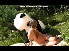 brunette hair fuck in the woods toy panda