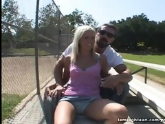glamorous golden-haired eden adams oral job and