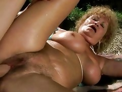 unsightly old wench acquires drilled hard outdoor