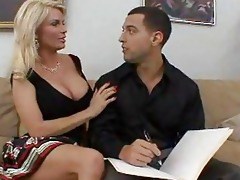 busty golden-haired cougar copulates a hard