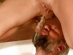 old man and cutie pissing and fucking