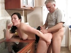 hawt strumpets fucking old farts in the kitchen