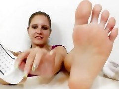 footjob from a youthful dark brown