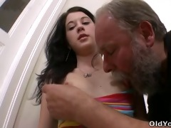 olga has her top slipped down by her mature dude